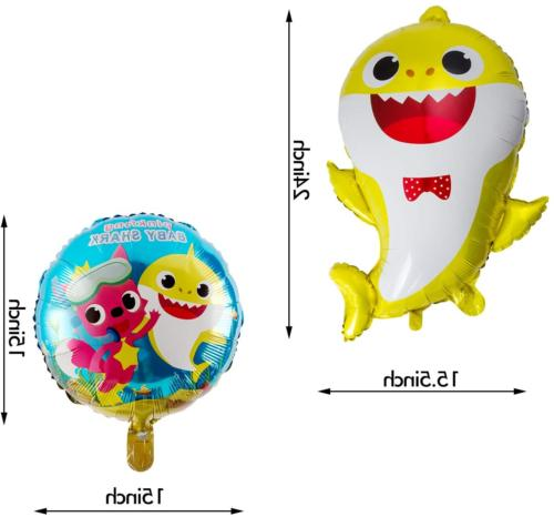 7 Balloons, Shark Party Supplies for